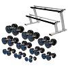 Sport-Thieme Kit d'haltères compacts PU, 2,5-22,5 kg, avec support d'haltères double