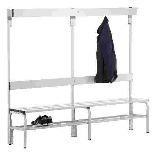 Banc de vestiaire Sypro Wolf pour espaces mouillés avec dossier 2,00 m, Avec grille à chaussures