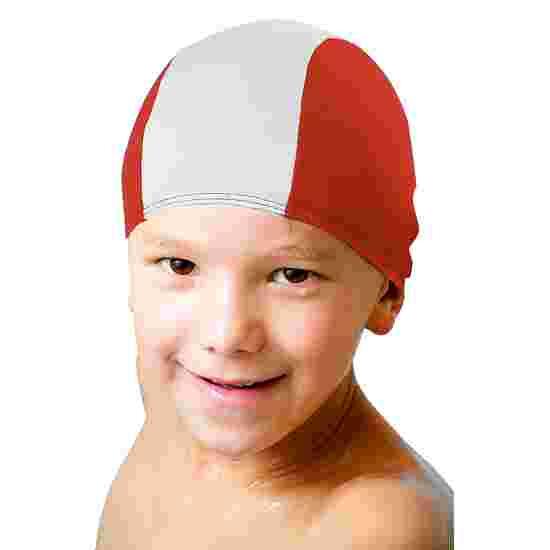 Bonnet de bain en textile Rouge-blanc, Enfant