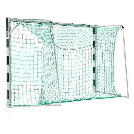 But de handball en salle Sport-Thieme 3x2 m  avec fourreaux et supports de filet rabattables Angles d'assemblage vissés, Noir-argent