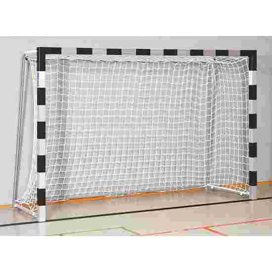 But de handball en salle Sport-Thieme 3x2 m  avec fourreaux et supports de filet rabattables Angles d'assemblage soudés, Noir-argent