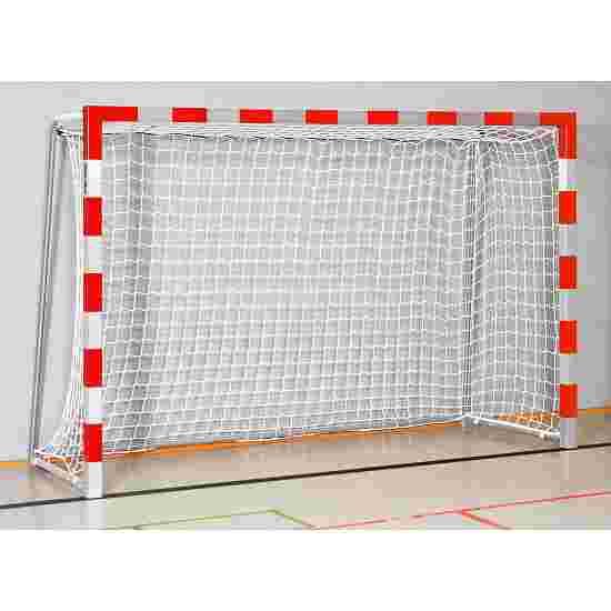 But de handball en salle Sport-Thieme 3x2 m  avec fourreaux et supports de filet rabattables Angles d'assemblage soudés, Rouge-argent