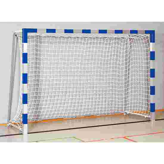But de handball en salle Sport-Thieme 3x2 m  avec fourreaux et supports de filet rabattables Angles d'assemblage soudés, Bleu-argent