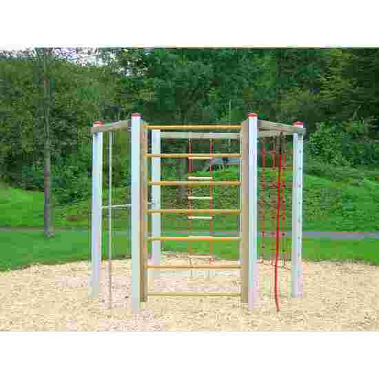 Cage d'escalade hexagonale en aluminium et chêne