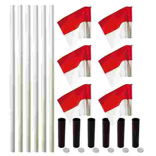 Kit de poteaux de délimitation Sport-Thieme « Allround » Poteau blanc, fanion rouge-blanc