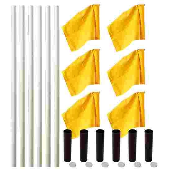 Kit de poteaux de délimitation Sport-Thieme « Allround » Poteau blanc, fanion jaune fluo