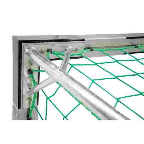 Sport-Thieme But de foot en salle 3x2 m, avec fixation par fourreaux et angles d'assemblage en acier Premium Avec supports de filet fixes, Noir-argent