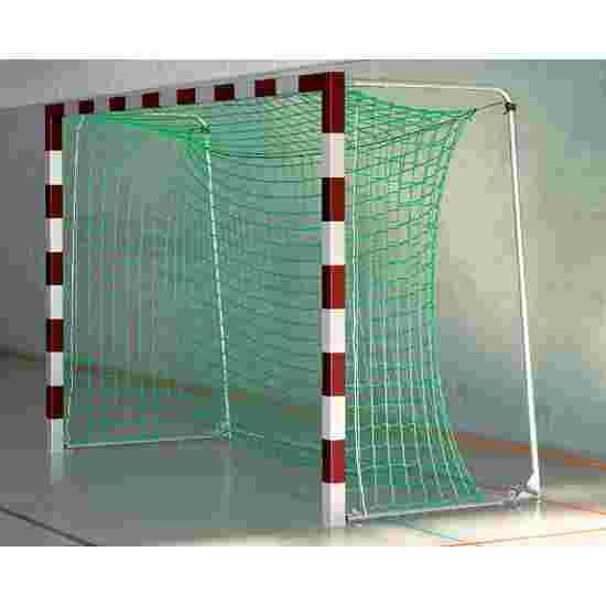 Sport-Thieme But de foot en salle 3x2 m, avec fixation par fourreaux et angles d'assemblage en acier Premium Avec supports de filet rabattables, Rouge-argent