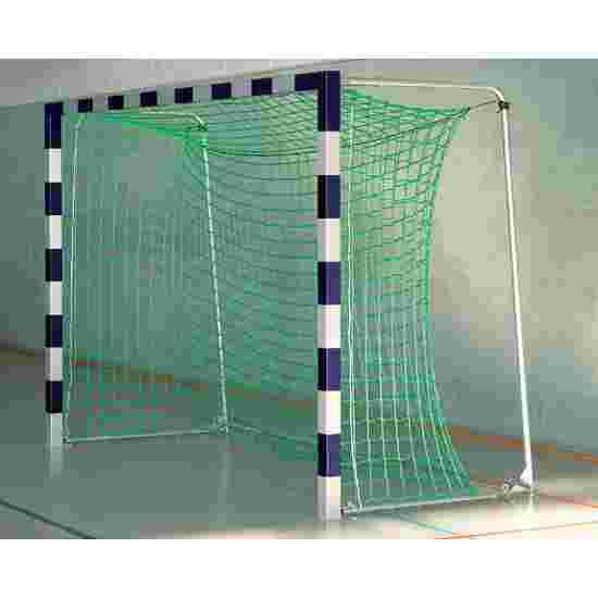 Sport-Thieme But de foot en salle 3x2 m, avec fixation par fourreaux et angles d'assemblage en acier Premium Avec supports de filet rabattables, Bleu-argent