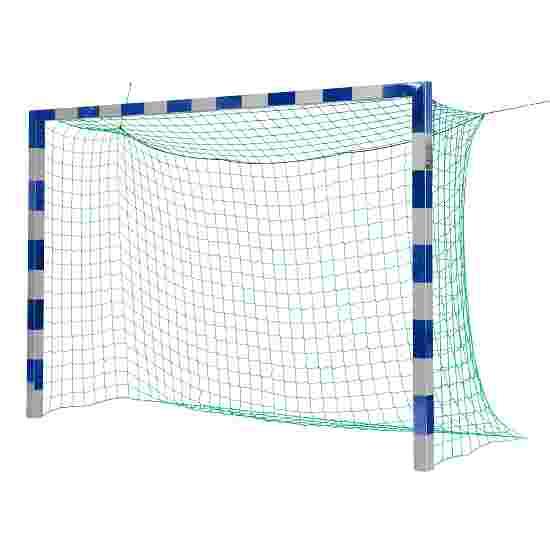 Sport-Thieme But de foot en salle 3x2 m, avec fixation par fourreaux et angles d'assemblage en acier Premium Sans supports de filet, Bleu-argent