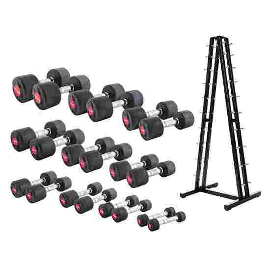 Sport-Thieme Kit d'haltères compacts en caoutchouc 1-10 kg, avec support pour haltères courts