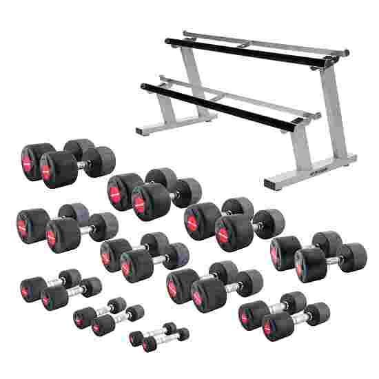 Sport-Thieme Kit d'haltères compacts en caoutchouc 1-25 kg, avec support pour haltères double