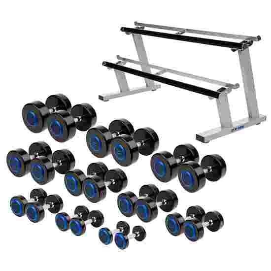 Sport-Thieme Kit d'haltères compacts PU 2,5-22,5 kg, avec support d'haltères double