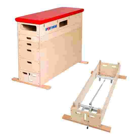 Sport-Thieme Plinth « Multiplex » 6 caissons Avec dispositif de transport sur roulettes, Simili cuir, rouge