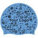 Bonnet de bain imprimé en silicone Bleu, Recto