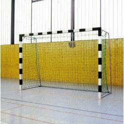 But de handball en salle Sport-Thieme 3x2 m  avec fourreaux et supports de filet rabattables Noir-argent, Angles d'assemblage vissés