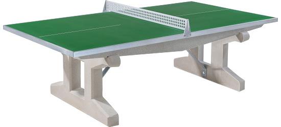 Sport-Thieme Table de tennis de table en béton polymère « Premium » Vert, Pieds courts, autostable