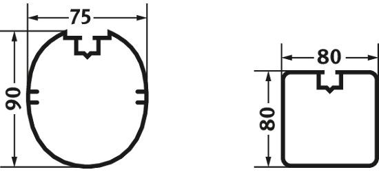 Système d'ancrage de sécurité 80x40 mm Profilé carré 80x80 mm