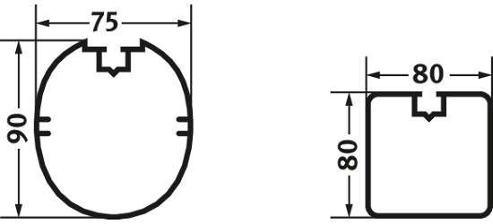 Veiligheids-Verankerings-Systeem 80x40 mm Vierkant profiel 80x80 cm