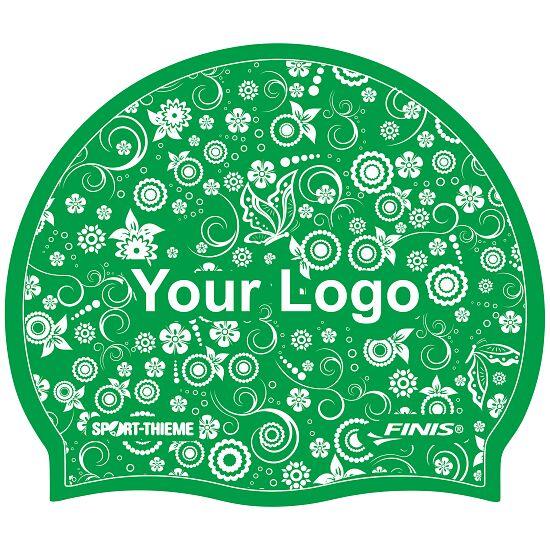 Bedrukte badmuts silicone Groen, Op 1 zijde