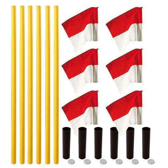 Kit de poteaux de délimitation Sport-Thieme® « Allround » Poteau jaune, fanion rouge-blanc