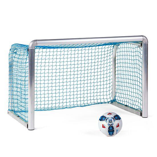 Mini but d'entraînement en alu Sport-Thieme® « Safety » 1,20x0,80 m, profondeur 0,70 m, Filet inclus, bleu (mailles 4,5 cm)