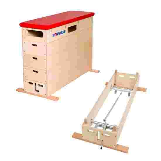 Plinth Sport-Thieme « Multiplex » 5 caissons Avec dispositif de transport sur roulettes, Simili cuir, rouge