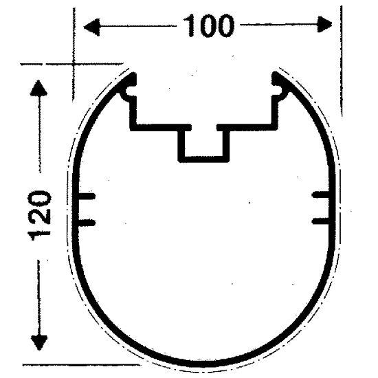 Roulettes de transport pour buts autostables Profilé ovale 100x120 mm, Rainure de profil profonde