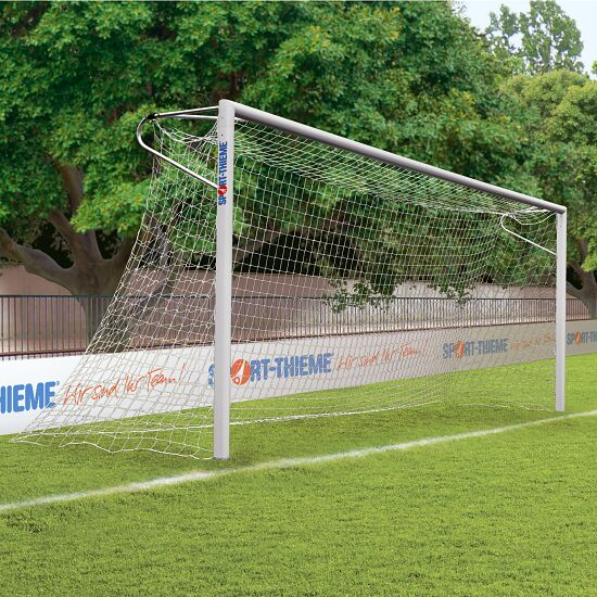 Sport-Thieme Aluminium voetbaldoelen, 7,32 x 2,44 m, hoeken gelast, staande in grondbussen Nethouderrail