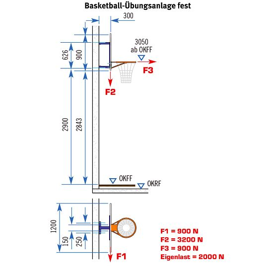 Sport-Thieme basketbal-muurconstructie vaste uitvoering Zonder hoogteverstelling