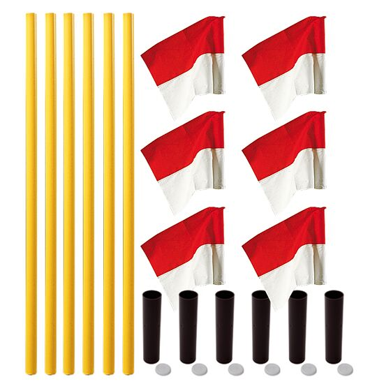 """Sport-Thieme® Grenspalen-Set """"Allround"""" Paal geel, vlag rood-wit"""