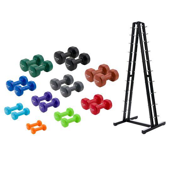 Sport-Thieme® Vinyl Handhalter-set 1-10 kg, met opbergstandaard