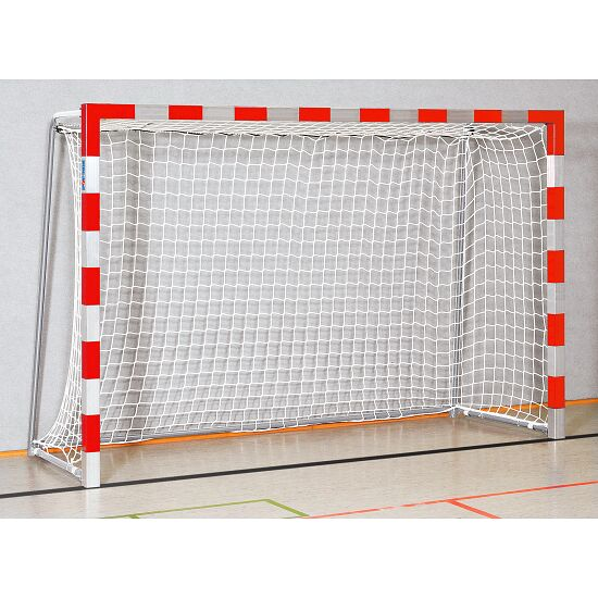 Sport-Thieme® Zaalhandbaldoel 3x2 m, in grondbussen Vastgeschroefde hoekverbindingen, Rood-zilver