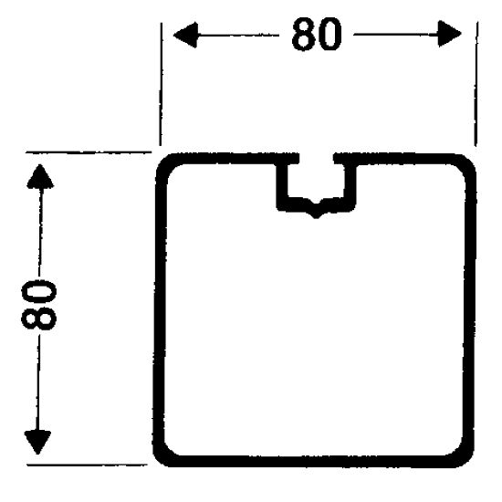 Transportwielen voor vrijstaande doelen Vierkant-profiel 80x80 mm, Profielgroef normaal