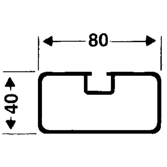 Transportwielen voor vrijstaande doelen Rechthoekig profiel 80x40 mm, Profielgroef normaal