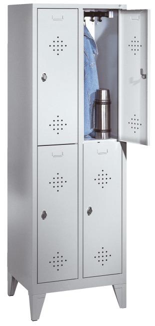 Armoire vestiaire double « S 2000 Classic » avec pieds 150 mm 185x81x50 cm/ 4 compartiments, 40 cm