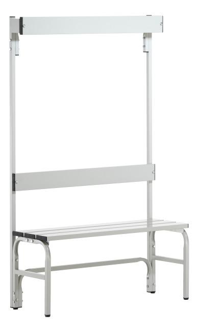 Banc de vestiaire Sypro Wolf® pour espaces mouillés avec dossier 1,01 m, Sans grille à chaussures