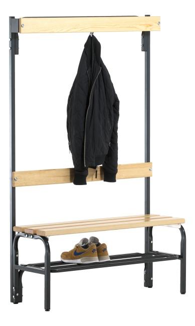 Banc de vestiaire Sypro Wolf® pour espaces secs avec dossier 1,01 m, Avec grille à chaussures