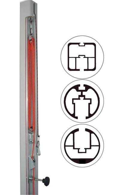 Dispositif de tension par poulie de rechange pour poteaux 80x80 mm, ø 83 mm ou ø 105 mm