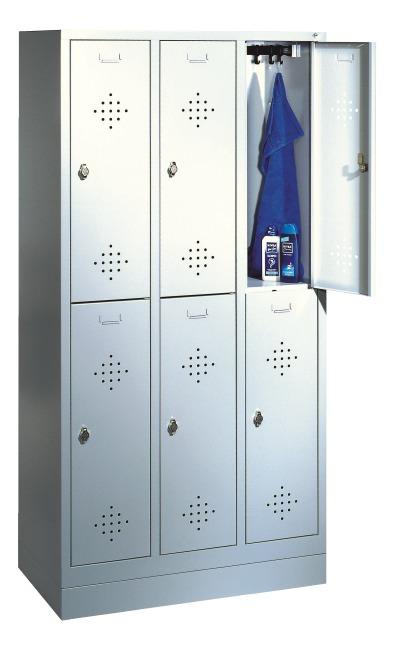 """Dubbele garderobekast """"S 2000 Classic"""" met 100 mm hoge sokkel 180x90x50 cm/ 6 vakken, 30 cm"""