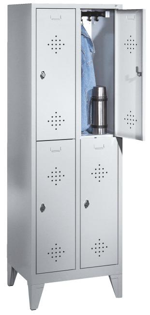 """Dubbele garderobekast """"S 2000 Classic"""" met 150 mm hoge poten 185x61x50 cm / 4 vakken, 300 mm"""
