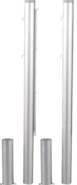 Poteaux de tennis ronds, ø 83 mm, aluminium