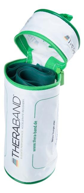 TheraBand 250 cm in opbergtasje met ritssluiting Groen, sterk