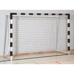 Sport-Thieme® Zaalhandbaldoel 3x2 m, in grondbussen  Rood-zilver, Vastgeschroefde hoekverbindingen