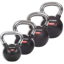 Sport-Thieme Kettlebell Set met rubbergecoat en gladde chroom-greep