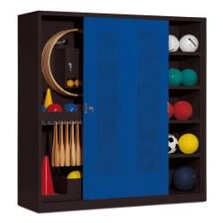 Sportmateriaalkast, hxbxd 195x190x60 cm, met schuifdeuren van geperforeerd plaatstaal (type 5) Fel geel (RDS 080 80 60), Lichtgrijs (RAL 7035)