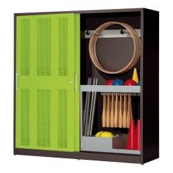 Sportmateriaalkast, hxbxd 195x190x60 cm, met schuifdeuren van geperforeerd plaatstaal (type 5) Lichtgrijs (RAL 7035), Lichtgrijs (RAL 7035)