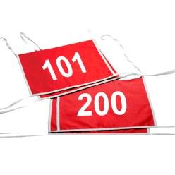 Set dubbele startnummers, rood, nr. 101-200