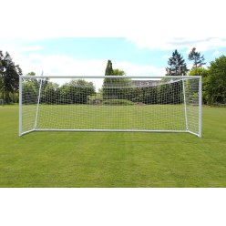 Sport-Thieme But de stade 7,32x2,44m, blanc, autostable,  avec support de filet libre SimplyFix